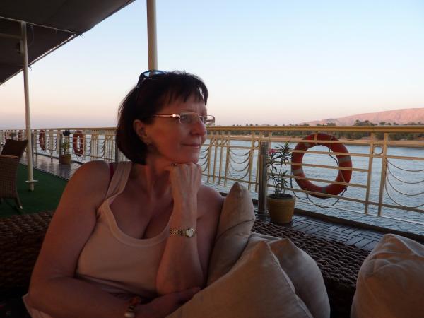 Royal Viking Nile Cruise Ship - Barbara relaxing on the sundeck